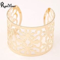 RAVIMOUR Punk Pulseiras Feminina Gold/Silver Color Cuff Bracelets & Bangles for Women Maxi Pulseras Femme Bijoux Jewelry 2017