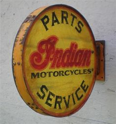 Image Detail for - ... for this double sided Rusty Round Indian Motorcycles Sign is $99.95