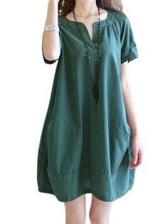 Loose Women V Neck Pocket Patchwork Pleated Mini Dress