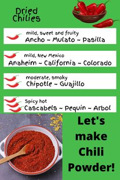Learn to make chili powder using the chilis that deliver the flavor you like - not what the jar tells you. #anothermusicinadifferentkitchen #spices #chili How To Make Chili, Vegan Chili, Homemade Chili, Chipotle Pepper, Powder Recipe, Roasted Red Peppers, Stuffed Sweet Peppers, New Flavour, Chili Powder
