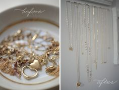 Pretty solution for delicate necklaces. Paint the nails the same color as your wall so they blend right in and allow your jewelry to shine. (Diy Necklace Hanger)