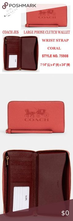 Coach Black Pebbled Leather Zip Around Large Phone Wallet  F75908 NWT $198