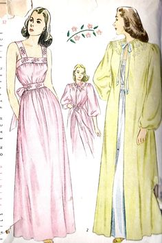 1940s Misses Nightgown and Negligee Vintage Sewing Pattern, with Beautiful Embroidery Simplicity 1798.