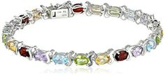 Multi Gemstone Tennis Bracelet in Sterling Silver available at joyfulcrown.com