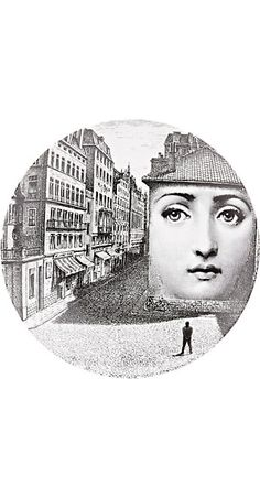 """Fornasetti """"Man Watching Off Side of Building"""" Plate - - Barneys.com"""