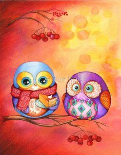 'Thanksgiving Owls with Pumpkin Pie' by Annya Kai