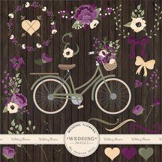 Premium Wedding Clipart & Vectors Plum Bicycle por AmandaIlkov