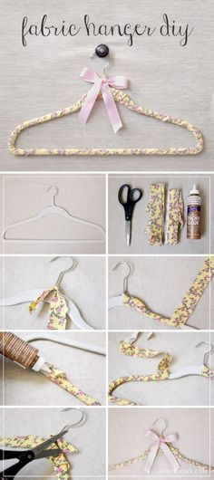 Clothes Hanger - Learn how to make your own DIY Fabric Hanger. Best Clothes Hangers, Diy Clothes, Diy Hangers, Hanger Crafts, Fabric Crafts, Sewing Crafts, Diy Vintage, Wedding Hangers, Pretty Designs