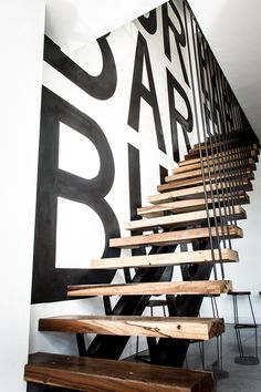 lucciano´s & burbar // mural + typography x panco sassano. Mexican Restaurant Decor, Restaurant Design, Storefront Signage, Window Display Retail, Deco Originale, Modern Stairs, Floating Stairs, Painted Stairs, Interior Stairs