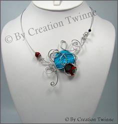 blue, red   swirls nekclace, glass, sea shell, bridesmaids necklace, delicate necklace,bridesmaids gifts, weddings necklace