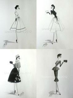 1950s fashion artwork by Linear Fashions (via Etsy)