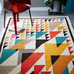 Guatemalan Triangles Wool Rug - Multi | West Elm