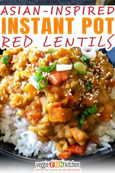 These deliciously flavored red lentils made in the Instant Pot will remind you of the flavors of a Korean BBQ. They are (mostly) oil-free, processed sugar-free, and spiced just right. Make them easily in your pressure cooker and serve over rice, vegetables, or roasted potatoes for a flavorful, healthy, plant-based dish. Are these the best tasting red lentils you'll find? I think so. Are they authentic Korean food? No way! | @veggiefunkitchen #vegandinner #veganrecipes #vegandiet veganbeginner Quick Vegan Meals, Vegan Dinner Recipes, Vegan Dinners, Vegan Recipes Easy, Whole Food Recipes, Vegetarian Recipes, Vegan Desserts, Vegan Meal Plans, Vegan Meal Prep