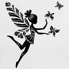Malvorlagen Archives - Page 427 of 637 - Pins Small Fairy Tattoos, Small Back Tattoos, Silhouette Painting, Silhouette Projects, Girl Tattoos, Tatoos, Stencils, Elf T Shirt, Iron On Vinyl