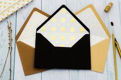 Set of 10 Wedding Envelopes A7 A6 A2 4 bar Black Kraft por Niblite