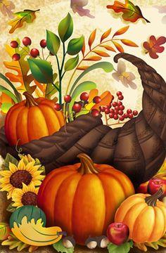 "Cornucopia & Berries Fall Garden Flag Autumn Decorative Pumpkins Harvest 12""X18"" #PDHomeGarden"