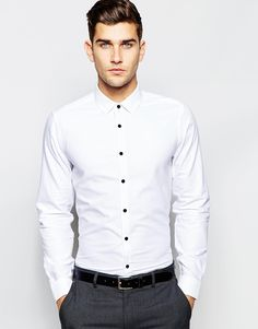 ASOS+White+Shirt+With+Contrast+Buttons+In+Regular+Fit+With+Long+Sleeves