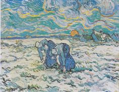 Vincent Van Gogh - Zwei grabende Bäuerinnen auf schneebedecktem Feld, 1890.