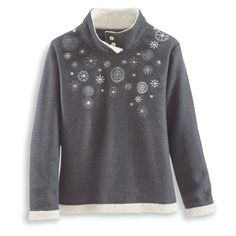 Embroidered Snowflakes Fleece Pullover - Women's Clothing – Casual, Comfortable & Colorful Styles – Plus Sizes
