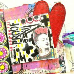 StencilGirl Products  -  Wow! Art & Whimsy is on fire 🔥 in her art journal! We love this page layered with stencils designed by Seth Apter and Michelle Ward/Green Pepper Press, oil pastels, faux leather, & clipart of Frida Kahlo! ❤