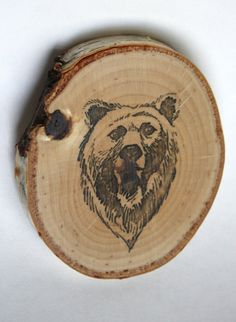 Set of four hand-made wood slice bear coasters // Wonderful! #SicEm!