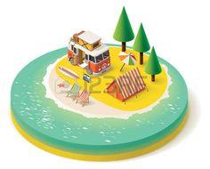 39983091: Isometric camper van on the beach