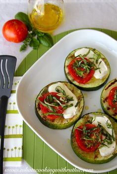grilled zucchini squash, summer tomatoes, fresh mozzarella and julienne of basil~drizzle with Italian dressing.