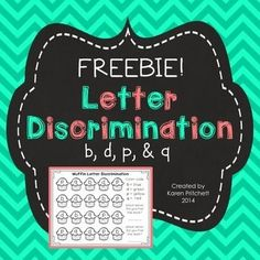 FREE!!! Letter Discrimination pages for commonly reversed letters. Includes a math graphing page to record the number of letters found. Great as a coloring page or for centers.