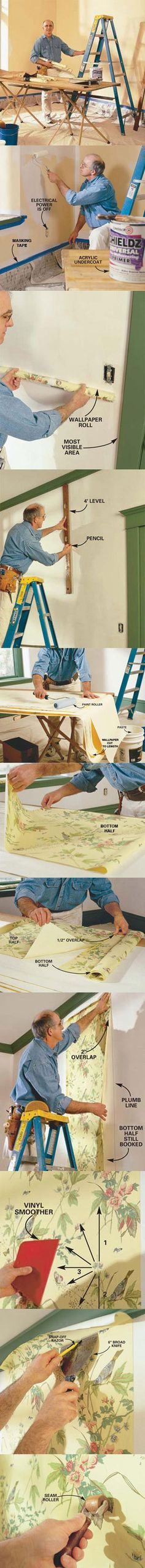 Learn how to hang prepasted wallpaper and get all the steps including making perfect corners at http://www.familyhandyman.com/DIY-Projects/Home-Decorating/Wallpaper/how-to-hang-prepasted-wallpaper/View-All