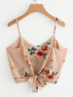 Crop top camisole v neck floral print tank top women's self tie back summer cami vest tops Cami Tops, Cami Crop Top, Vest Tops, Crop Blouse, Floral Crop Tops, Camisole Top, Mode Outfits, Fashion Outfits, Dress Fashion