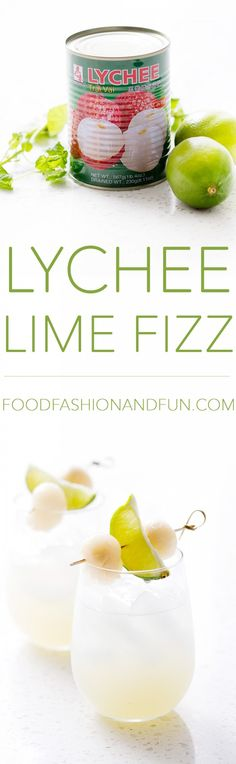 Lime Fizz My husband calls this cocktail 'The Lychee Meringue.' He said it reminds him of a meringue because it's light with subtle flavors of lychee and lime. It's really a perfect comparison. Party Drinks, Cocktail Drinks, Fun Drinks, Cocktail Recipes, Alcoholic Drinks, Cosmo Cocktail, Cocktail Shaker, Refreshing Cocktails, Summer Drinks