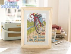 On your bike! #TourdeFrance cross stitch, yellow jersey, here we come! The latest on-trend vintage-style project in our collectable series, echoing a classic #sport poster. Look for this design only in the issue 231 of The World of Cross Stitching magazine
