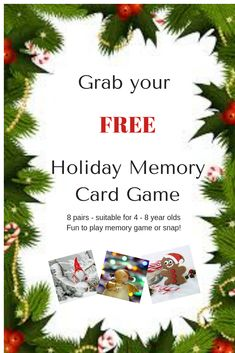 Play memory game or snap with this Christmas Memory Game. 8 pairs of cute Christmassy pics suitable for ages 4 - 8 years. Learning Through Play, Kids Learning, Memory Games For Kids, Card Games, Christmas Holidays, Arm, Parenting, Entertaining, Posts