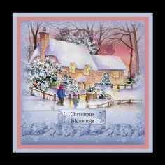 Watercolour Winter Cottages on Craftsuprint designed by Anne Lever - made by Julie McGregor - I printed and cut out the sheet, added the this stunning topper onto the card with DST, the greeting I added with foam pads to finish off I added a little glitter - Now available for download!