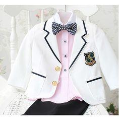 Boys White Black Guard of Honor Dress Suit Tuxedo Formal Clothing Store SKU-132037