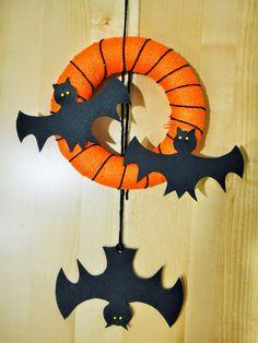 Ines Felix - Kreatives zum Nachmachen: Halloween-Türkranz mit Fledermäusen