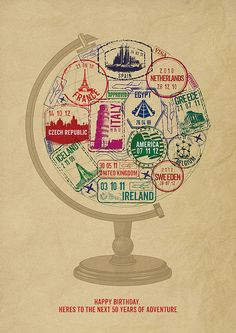 """love this idea - personalized globe with destinations you've been to!"" even though its a card this idea would work perfect for a world map"