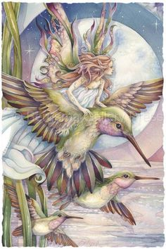 Amid Hummers Night Dream... There's Magic On The Wind - Prints by Jody Bergsma
