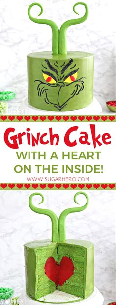 This showstopping green Grinch cake is decorated with a perfectly Grinchy face and a wonderful secret--a red heart on the inside! Grinch Christmas Party, Christmas Goodies, Christmas Treats, Grinch Party, Cake Recipes For Kids, Best Cake Recipes, Holiday Baking, Christmas Baking, Grinch Cake