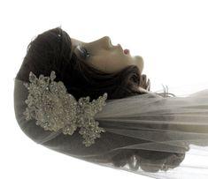 Couture bridal cap veil -1920s wedding  veil - Luscious. 165.00, via Etsy.