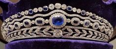 The Carrington sapphire tiara in it's plush velvet case