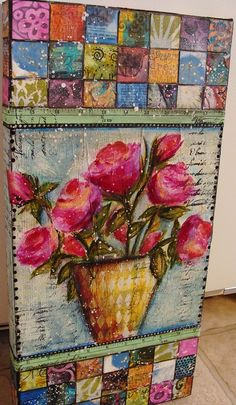 """mixed media collage--""""Patchwork Quilt"""" with flower pot Mixed Media Canvas, Mixed Media Collage, Collage Art, Altered Canvas, Altered Art, Collages, Art Journal Pages, Art Journals, Art Journal Inspiration"""
