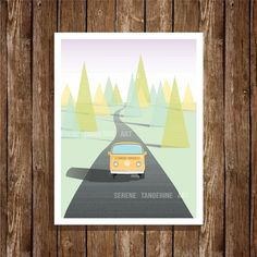 VW Bus Van Retro Road Trip Illustration 8x10 Art Print, Digital Print, Home Decor, Wall Art, Instant Download, Printable Art
