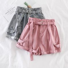 [Women] Wide Leg Shorts With Belt Hotpants Jeans – Outfit Looks Korean Outfits, Short Outfits, Trendy Outfits, Summer Outfits, Emo Outfits, Teen Fashion Outfits, Cute Fashion, Fashion Dresses, Hotpants Jeans