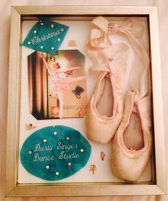 Dance memories shadow box - first pair of pointe shoes along with names/pins from dance bag
