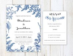 """This simple blue illusrtration invitation & reesponse card are flat printed on the highest quality and luxuriously thick ivory matte cardstock (130lb/350gsm) from Germany and Italy. -------------------------------------------------------------------  ♥ W o r l d w i d e v i a P r i o r i t y S h i p p i n g ♥   ♥ I N V I T A T I O N ⋆ I N C L U D E S ♥  Customization (Text color changes/wording/layout/etc.) Invitations: 5x7 Response Cards: 4.7x6"""" Blank envelopes for In..."""