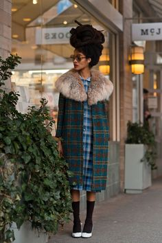 The most delicate plaid combination, and How To Wear Your Hair As A Hat. Lovely!
