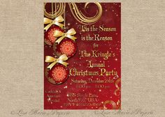 christmas party invitation handmade digital by LisaMariesPaperie, $14.00