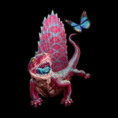 Pink Dimetrodon with butterfly. Perfect gift for dinosaur lovers. Or for Jurassic Park fans.   Design available in tshirts and other apparen for men, women and children. (just click the image)