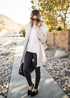 Wear a pair of black mocassins with skinny jeans and a pale coat on crisp autumn mornings for a fabulous fall look. Via Emily Jackson. Coat: Trina Turk, Jeans: Rag and Bone, Top: Equipment, Bag: Givenchy, Mocassins: M. Gemi.